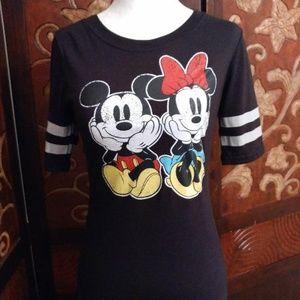 Disney Mickey & Minnie Mouse Black Tee - Size S